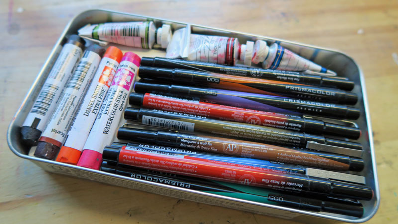 Gina's parcel, bringing me Daniel Smith watercolor sticks, M. Graham watercolor paints (yay) and Prismacolor markers