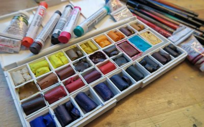 Color-my-page Art Journal Challenge #4, Daniel Smith Watercolor Sticks, Giveaway and Discount