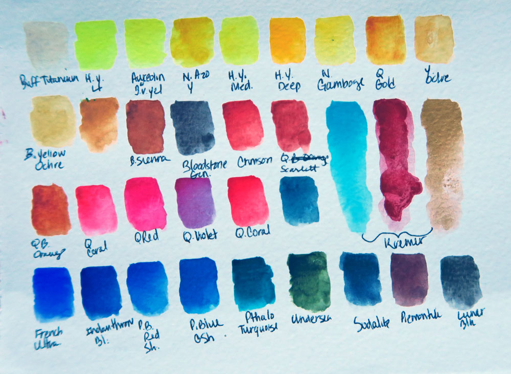 Daniel Smith watercolor stick color chart