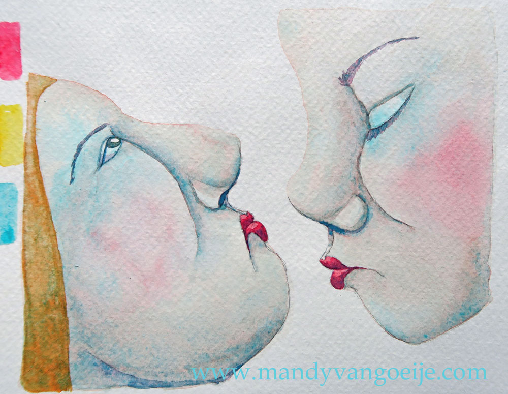 The Kiss #3 - watercolor