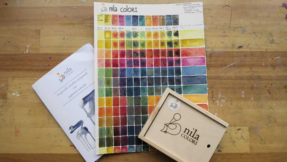 nila colori watercolor paint - mixing chart - wooden set - reviewed by mandy van goeije
