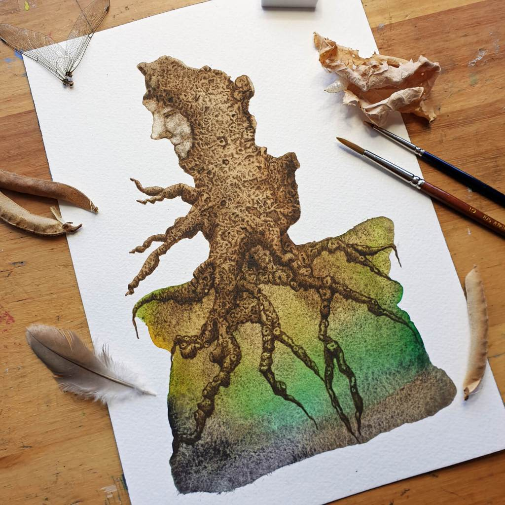 Treeman Green - watercolor painting by Mandy van Goeije