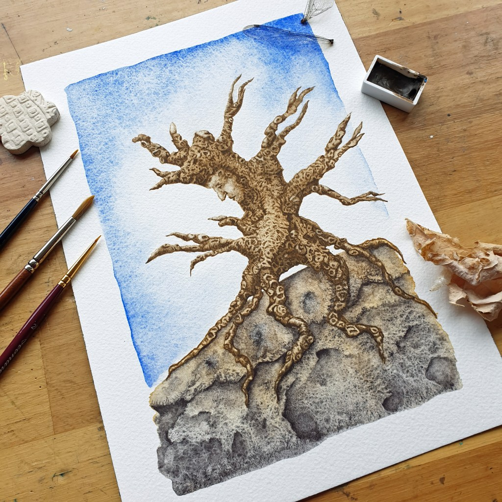 Treeman Walkabout- watercolor painting by Mandy van Goeije