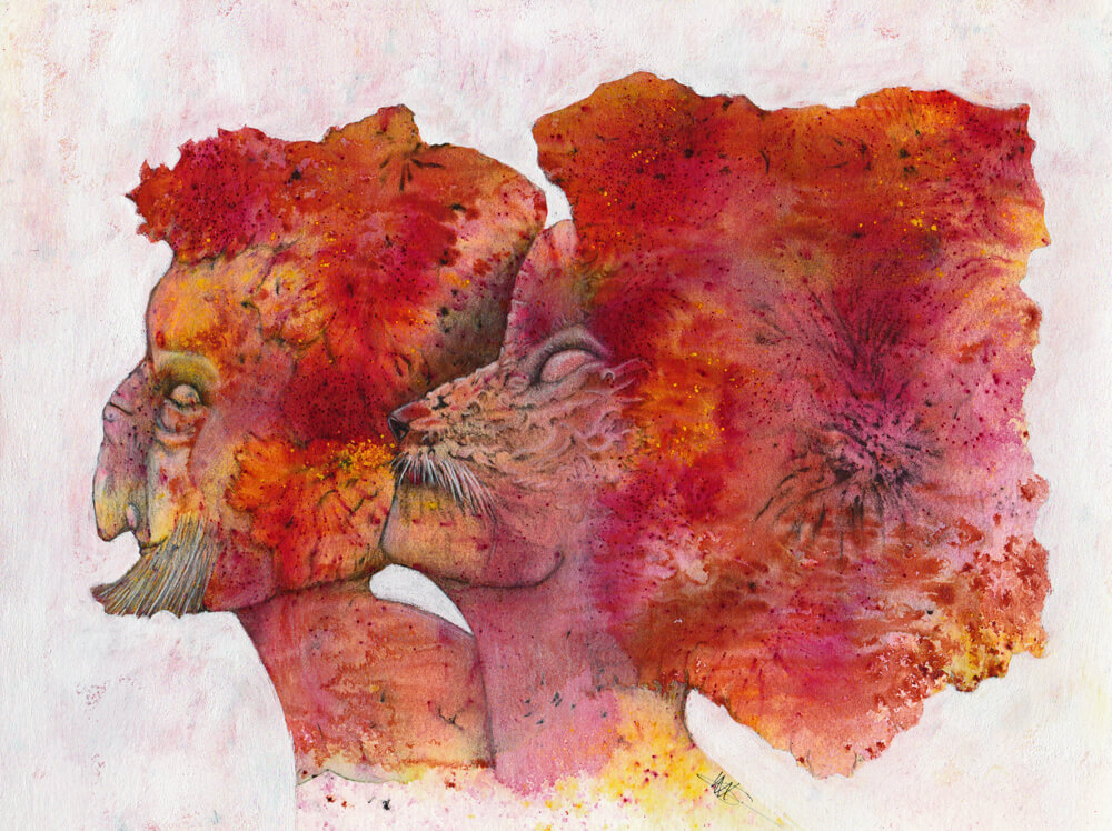 """The Unlikely couple"", new watercolor and mixed media art by Mandy van Goeije, 2020"
