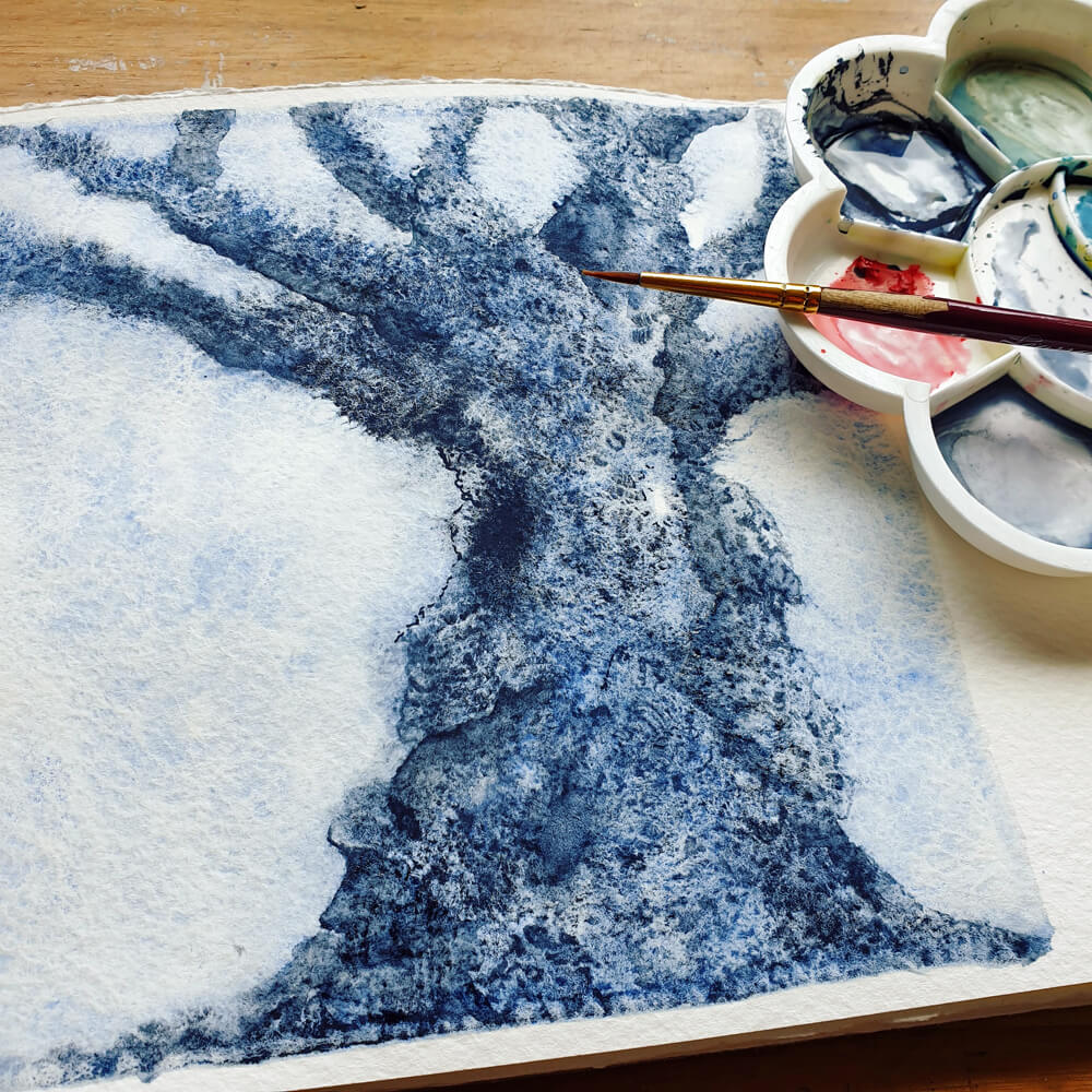 watercolor blue tree in sketchbook