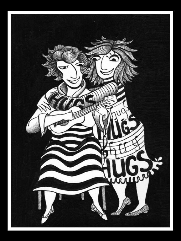 India Ink hug illustration by Mandy van Goeije for a week of hugs