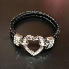Rhinestone Heart Horse Hair Bracelet