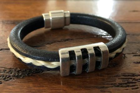 Men's Leather and Horsehair Bracelet