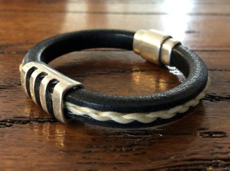 Mens Leather and Horsehair Bracelet