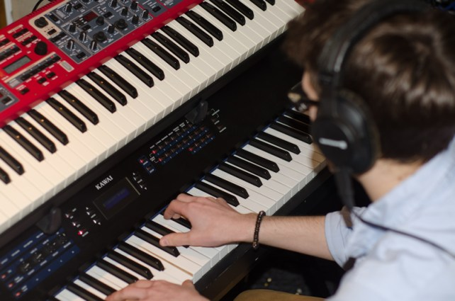 Recording keys for Jamie Roe Band, 2015.