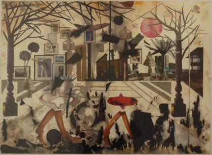Untitled, 2009, washed collage on paper, cm 55x75