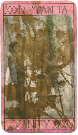 Untitled (XXXIV. La vanità), 1999-2010s, pencil, coffee and acrylic ink on Fabriano paper, cm 20x34.5 (1 of over 60 tarot cards)