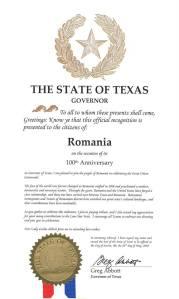 Greg Abbott, guvernatorul statului Texas, <br> a emis o Proclamaţie oficială dedicată României, în contextul sărbătoririi Centenarului Marii Uniri