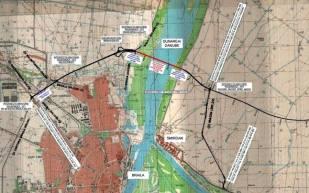 Podul suspendat peste Dunăre-Braila-harta