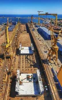Damen Shipyards Mangalia - lansarea la apă a unui doc plutitor1