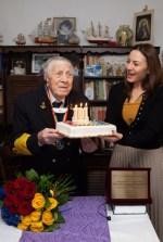 FOTO_Viceamiral rtr. MIRCEA CARAGEA, 101 ani, Alexandra DOBRE, Director General CSMB.