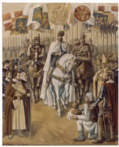 Pictura in ulei pe panza de 3 x 2,5 m, realizata in anul 1985. Se află in holul Cercului Militar din Alba Iulia.
