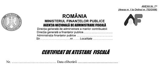 certificatul de atestare fiscala