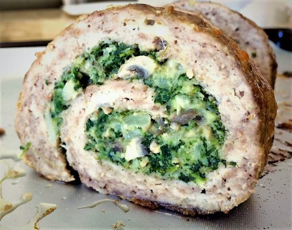 Spinach and Mushroom Filled Pinwheel Meatloaf