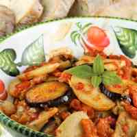 Baked Eggplant and Potatoes with Tomato Sauce
