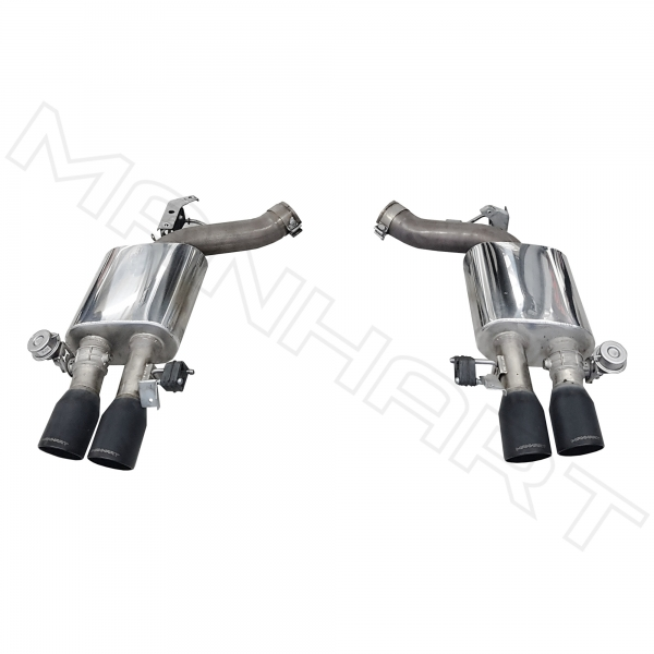 manhart slip on sport exhaust bmw f06 f12 f13 m6 competition with valve control 4x100 mm tailpipes