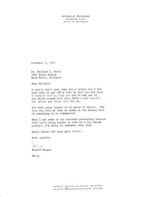 Typed Letters Signed | Ronald Reagan