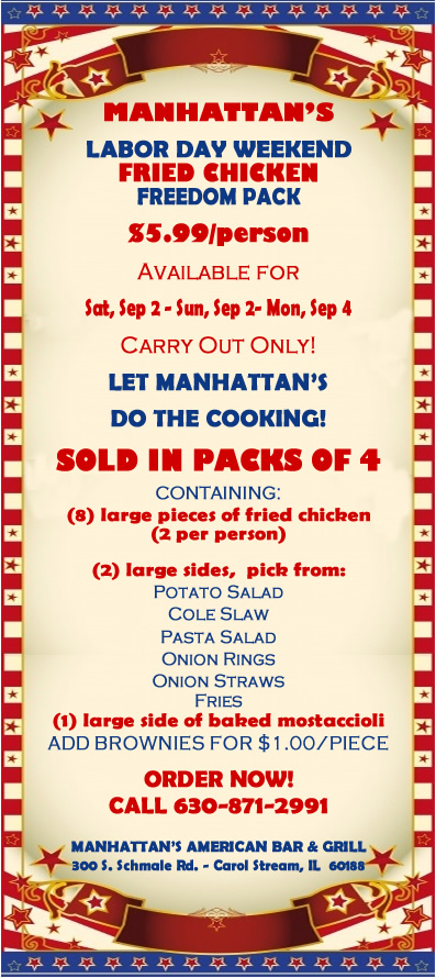 $5.99 Labor Day Weekend Fried Chicken Carryout at Manhattan's