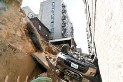 Upside down car in a crevice
