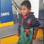 A triste história por trás da imagem viral da criança que carrega seu cachorro da maneira mais adorável