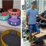 Jovem transforma pneus velhos em bonitas camas para animais. Ajuda o meio ambiente de forma criativa