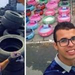 Jovem reciclou vários pneus velhos e transformou-os em camas para animais