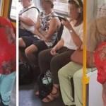 Uma idosa fica em pé no transporte coletivo enquanto os jovens ouvem música sentados, obcecados com os seus celulares