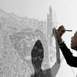 Artista autista desenha cidade inteira de cabeça com apenas um passeio de helicóptero de 20 minutos