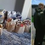 Após verem idoso sem nada no carrinho de compras, estes dois jovens fazem entregas surpresa