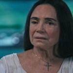 A atriz Regina Duarte leva tombo e quebra três dentes