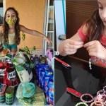 Menina de 6 anos produz e troca pulseiras por alimento para ajudar famílias carentes