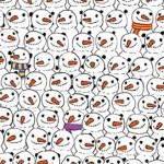 Há um panda entre os bonecos de neve! Consegue encontrá-lo?