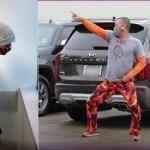 Pai dança de maneira engraçada em estacionamento para animar filho durante tratamento de câncer.