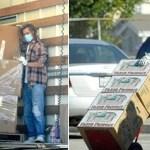 Brad Pitt descarrega caminhão e entrega alimentos para famílias carentes durante a pandemia