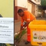 Homem termina doutorado após estudar com livros que recolheu do lixo como varredor de rua