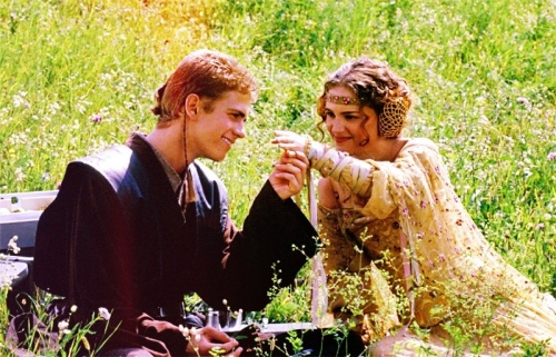 Anakin and Padmé in a meadow, happy and in love