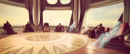 The Jedi Council sitting in a circle