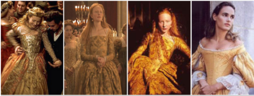 gold dresses on a number of Elizabethan heroines in film