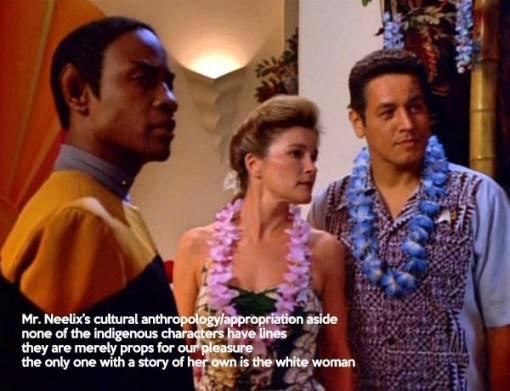 "Screencap: Tuvok speaks to Janeway and Chakotay. Anika's caption: ""Mr Neelix's cultural anthropology/appropriation aside, none of the indigenous characters have lines. They are merely props for our pleasure. The only one with a story of her own is the white woman."""