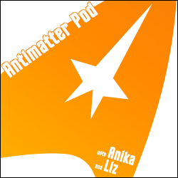 cover of the Antimatter Podcast featuring a golden Trek command sign