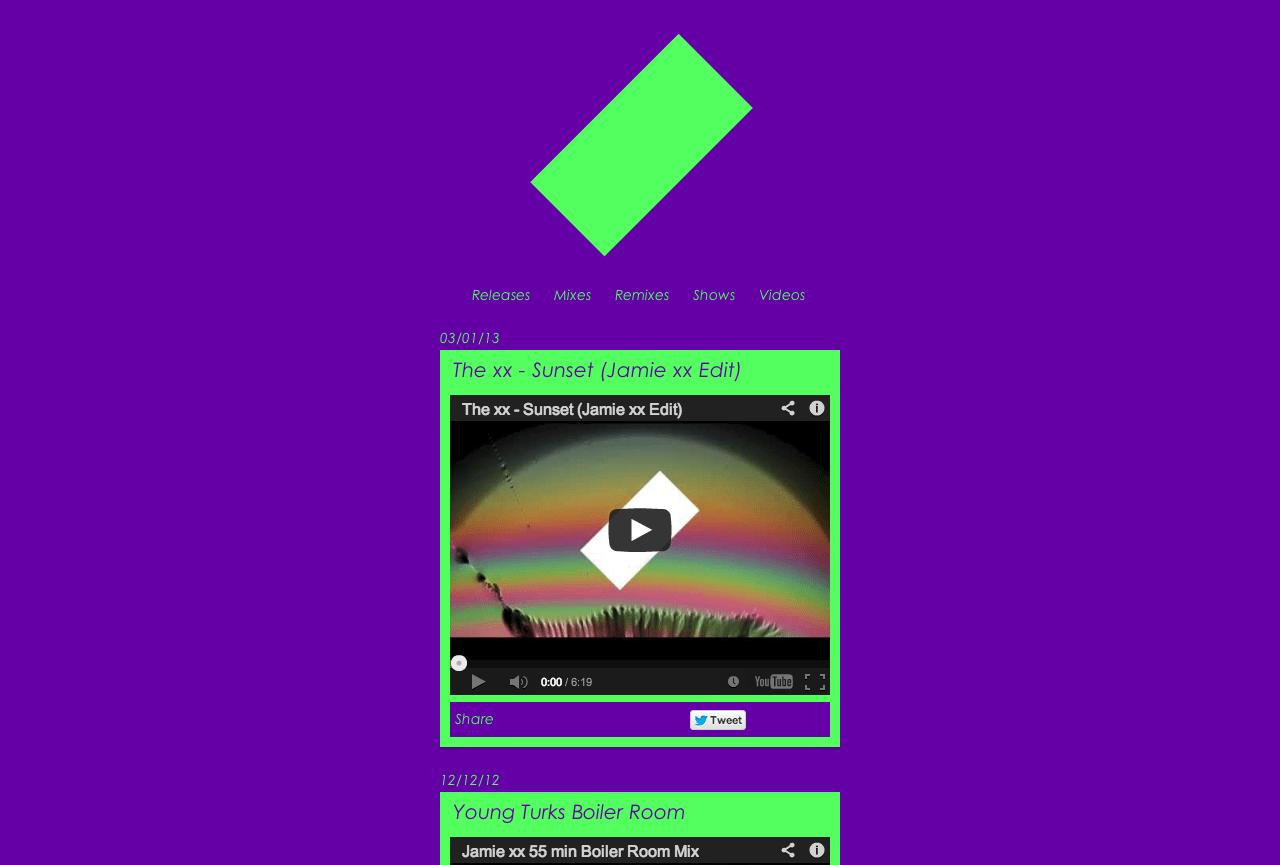 Jamie xx 公式サイト