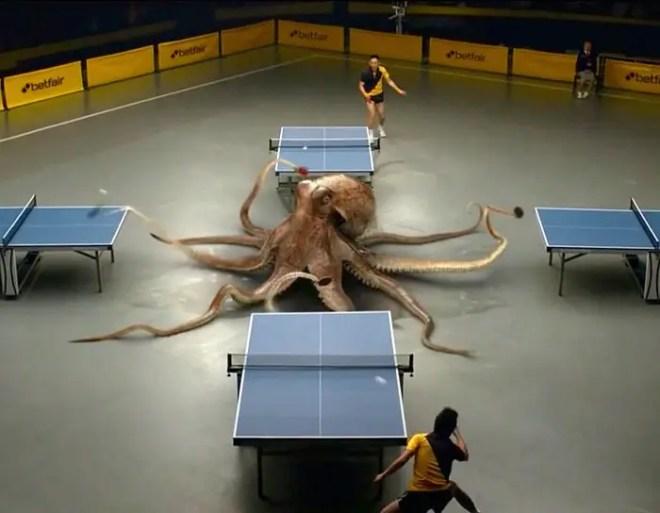 【動画】Betfair 強すぎるタコと卓球で戦うCM動画がおもしろい