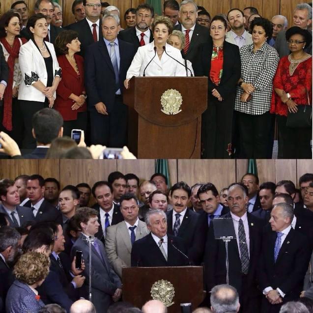 Et bilde taler mer enn tusen ord. Kikk nøye på Dilma Rouseffs (foreløpig) siste, og Michel Temers første tale som Brasils president i går. Hvem representerer de?