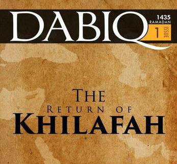 """""""Dabiq"""" er Daesh' internasjonale magasin. Bildet viser det første nummeret som kom ut i juli 2014. Foto: Wikimedia commons."""