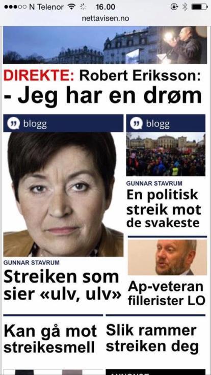 Faksimile fra Nettavisen om generalstreiken i 2015.